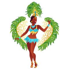 Brazilian samba dancer vector. A beautiful carnival girl wearing a festival costume is dancing.