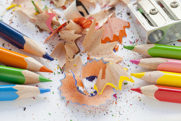 Sharpened colorful pencils and wood shavings