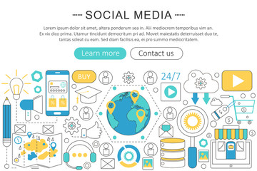 Vector modern line flat design Social media concept. Social media icons Website Header, app design poster banner.