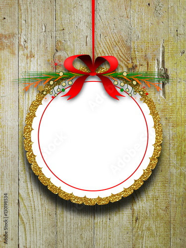 Blank Round Decorated Ornament Frame Hanged By Red Christmas Ribbon