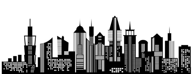 Cityscape black icon on white background