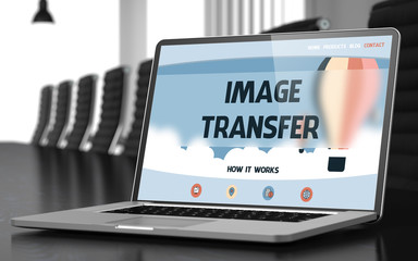 Image Transfer Concept on Laptop Screen. 3D.