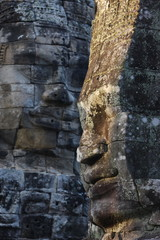 Stone faces, which may depict Jayavarman VII as a Bodhisattva, on towers in the Bayon Temple, Angkor Thom, Angkor, UNESCO World Heritage Site, Siem Reap, Cambodia, Indochina, Southeast Asia, Asia