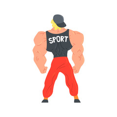 Man In Red Sportive Pants And Cap Bodybuilder Funny Smiling Character On Steroids Demonstrating Muscles As Strongman Routine