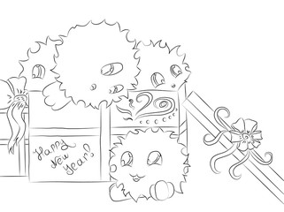 four cute monsters gift box christmas coloring book