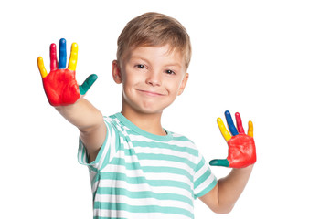 Boy with colorful hands