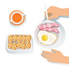 Bacon, Egg, Cookies And Orange Juice Set Of Classic Breakfast Food Products And Menu Items