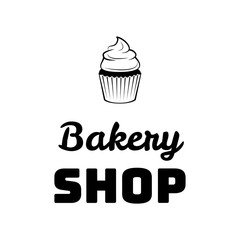 Cream dessert cakes bakery logo or emblem for food, cafe or restaurant menu design. Vector Illustration