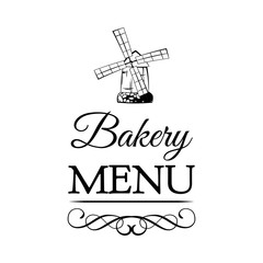 Ancient mill symbol for bakery badge. Windmill Baking Shop. vintage label filigree ornate frame. Vector Illustration Isolated On White