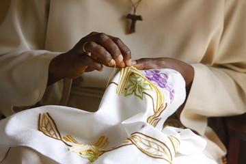 Seamstress at Akepe Catholic Monastery, Akepe, Togo,