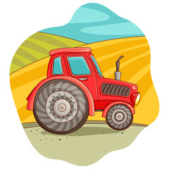Illustration with a tractor. Agriculture. Vector illustration. Freehand drawing