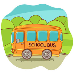 Illustration with a school bus. Vector illustration. Freehand drawing