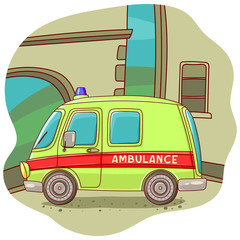 Illustration with an ambulance car. Vector illustration. Freehand drawing