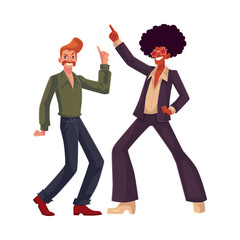 Two guys, in afro wig and with a beehive, wearing 1970s style clothes dancing disco, cartoon vector illustration isolated on white background. Afro wig, beehive, flared pants, retro disco party