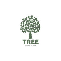 Stylized round shaped green oak tree logo template, vector illustration isolated on white background. Oak tree logotype template with round foliage and big trunk, growth, development, origin concept