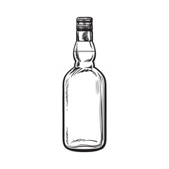 Unopened, unlabeled full whiskey bottle, sketch style vector illustration isolated on white background. black and white hand drawing of an unlabeled, unopened whiskey, rum, brandy bottle