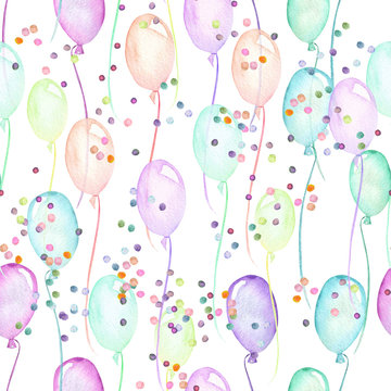 Seamless party pattern with multicolored air balloons and confetti, hand painted in watercolor on a white background