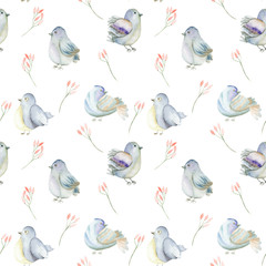 Seamless pattern of the watercolor blue birds and pink flowers branches, hand drawn on a white background