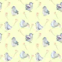 Seamless pattern of the watercolor blue birds and pink flowers branches, hand drawn on a yellow background
