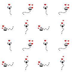 cute flies cartoon with hearts seamless vector pattern background illustration