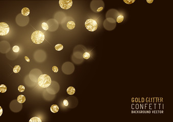 A luxury background design with falling glitter and sparkling metallic gold confetti. Vector illustration.