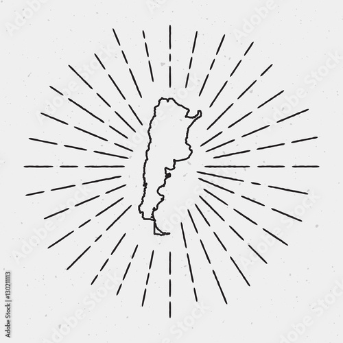 Vector Argentina Map Outline With Retro Sunburst Border Hand - Argentina map outline