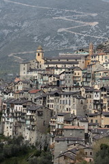 View of Saorge village in La Roya valley, Alpes Maritimes, Provence, France, Europe