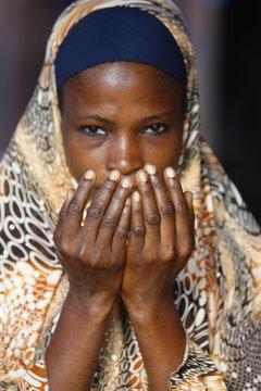 Muslim woman praying, Lome, Togo, West Africa