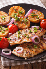 roasted chicken breast with grilled potatoes and tomatoes close-up. vertical