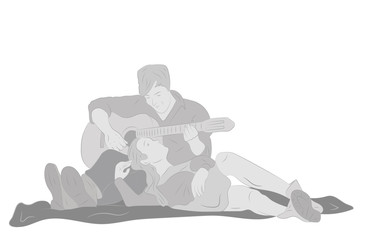 guy playing the guitar girl. the concept of a romantic relationship. St. Valentine's Day. vector illustration.