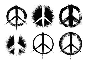 Pacifist peace symbols set painted