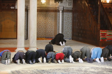 Young Muslims learning how to pray, Paris, France, Europe