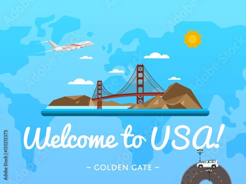 Welcome to usa poster with famous attraction vector for Design agency usa