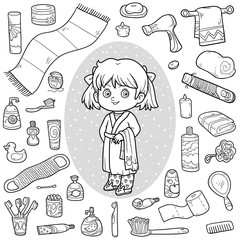 Vector colorless set of bathroom objects, girl and bathrobe