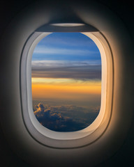 Window Seat in an airplay during a sunrise