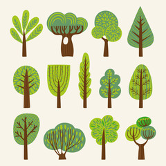 Set of illustrations with stylized trees