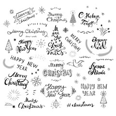 Merry Christmas and New Year creative typography with doodle style elements ink drawing.