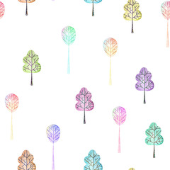 Seamless floral pattern with simple multicolored trees, hand drawn in watercolor on a white background