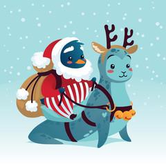 Cute Penguin in costume of Santa Claus riding Seal.