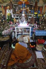 Buddhist ceremony, Tu An Buddhist temple, Saint-Pierre-en-Faucigny, Haute Savoie, France, Europe
