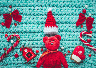 Cute red teddy bear with Chritstmas traditional elements