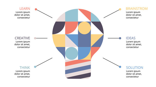 Vector abstract light bulb infographic. Creative presentation slide. Resolution 16:9. Template for diagram, graph or chart. Business startup idea concept with 6 options, parts, steps, processes.