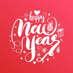 Happy New Year, lettering Greeting Card design text. Vector illu