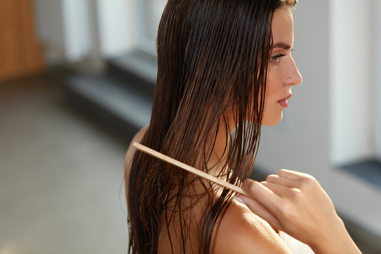 Beautiful Woman Hairbrushing Her Long Wet Hair. Hair Care