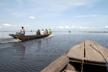 Canoe on Lake Nokoue, Ganvie, Benin, West Africa, Africa