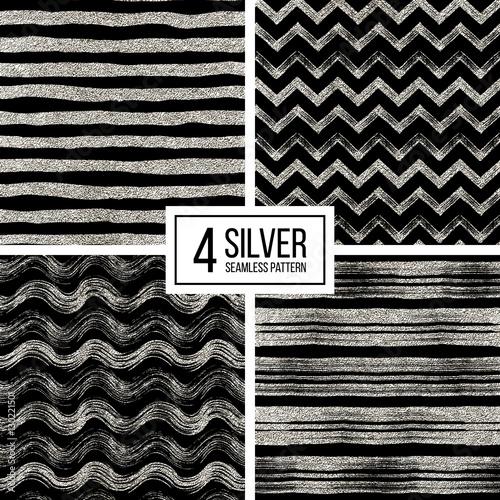 Set of seamless pattern of silver glitter stripes zigzag chevron set of seamless pattern of silver glitter stripes zigzag chevron wavy stripe seamless stopboris Choice Image