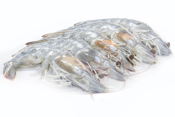 Seafood fresh shrimp on white background for cooking.