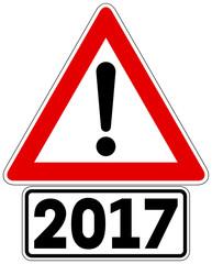 Gefahrzeichen Gefahrstelle mit Zusatzzeichen 2017
