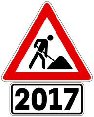 Gefahrzeichen Baustelle mit Zusatzzeichen 2017