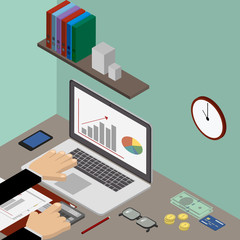 Workplace, accountant's office, financier, businessman. Vector isometric